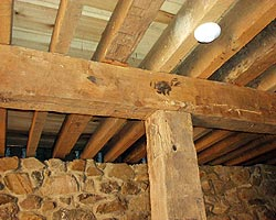 Wood Framing And Siding Of Hewn Solid Lumber With Mortise