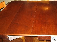 Danish Modern Oil-Finished Dining Table after refinish and veneer inlays