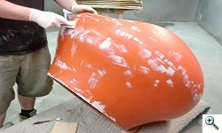 Pastille fiberglass chair being refinished