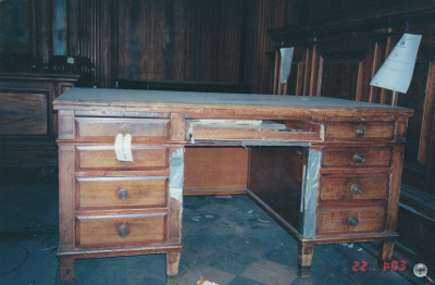 Solid Walnut Desks before Refinishing and repair