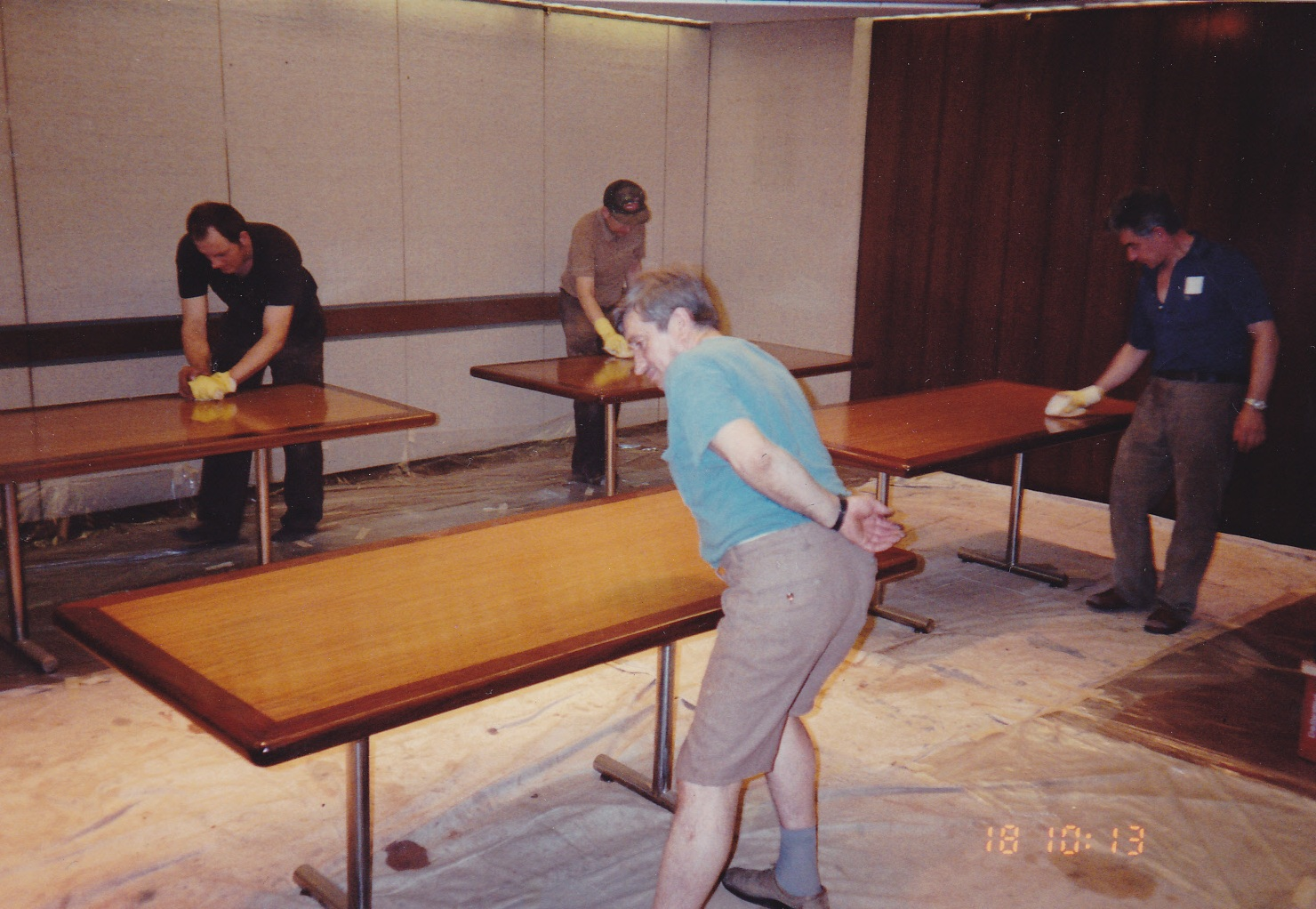 Conference room tables refinished on-site