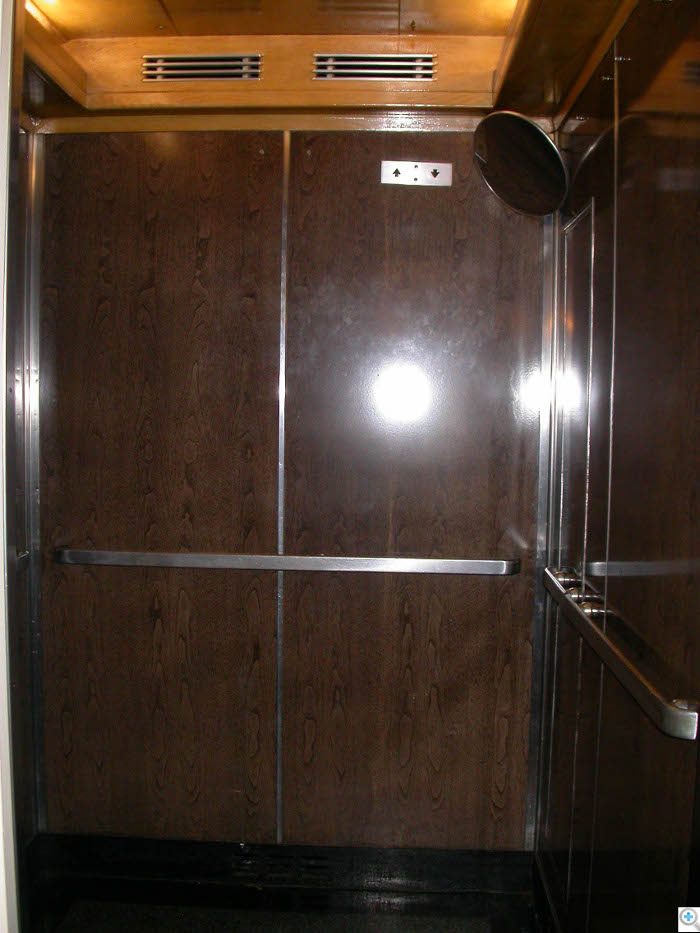 1920's Elevator Cab Interior Paneling replaced, Ceiling Restored