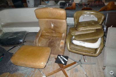 Chairs prior to repair and reupholstery