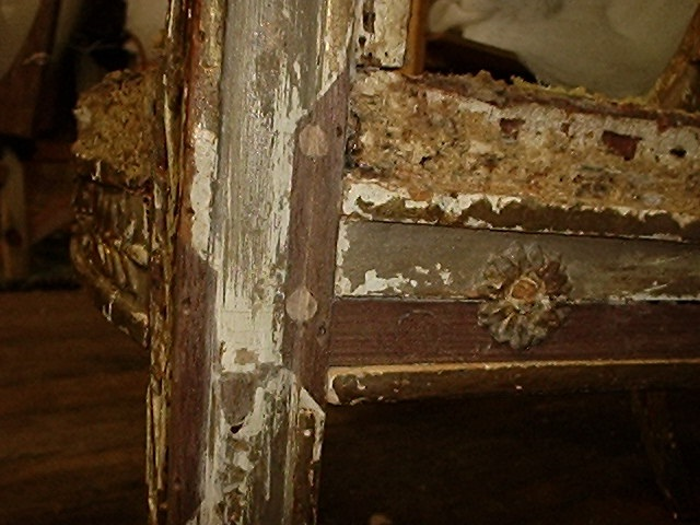 Dutchman inlays and repairs to mortise and tenon joint and chair rails  necessary for this French - Historic Woodwork, Best Antique Furniture Repair NYC, CT, NJ