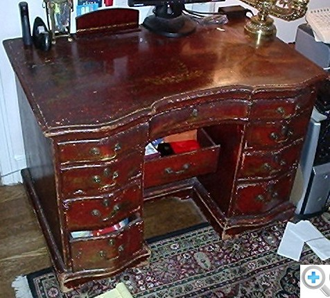 One owner sat at this desk for 35 years, and was unaware of the parcel gilt surface beneath the old varnish and centuries of grime