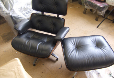 Black Leather Eames Lounge Reupholstery