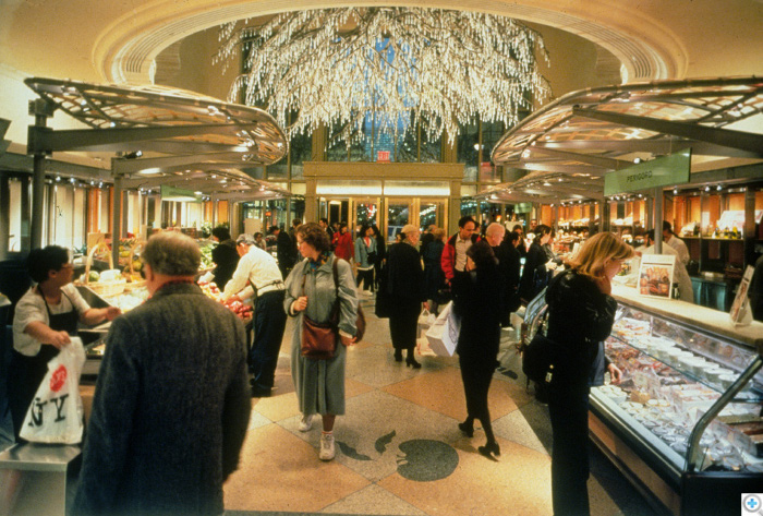 over 5,000 pendant crystals , a gold-leafed gilt root and painted branches gets dirty quickly in NYC,s Grand Central Station, in the Lexington Marketplace