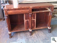 American Empire Sideboard, with Dutchman inlays and carving repairs, during