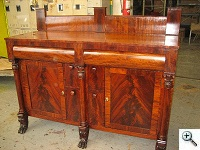 American Empire Sideboard Repair, after repairs and  French Polishing