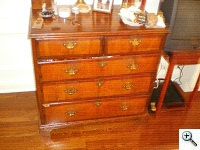 18th Century Queen Anne period Chest of Drawers missing cross-banded edge veneer