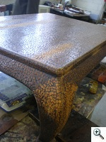 Karl Springer Coffee Table being repaired