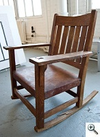 Stickley Rocker suffered serious neglect, broken arm, rocker, and back rail