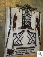 Chair disassembled for redoweling and gluing