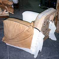 Art Deco Club Chair Recover with raw vegetable tanned hide