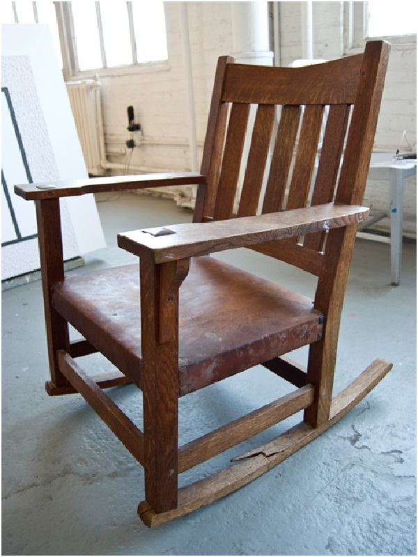 Stickley Arts & Crafts Rocker, with broken rocker and back before repair ... - Historic Woodwork, Best Antique Furniture Repair NYC, CT, NJ