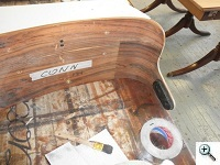 Inside of the chair has rosewood inlay as well, not carefully matched or touched up (cushions will cover)