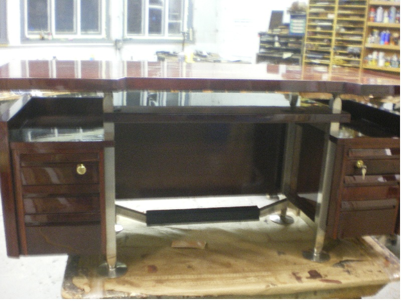 mid century modern furniture restoration. melchiorre bega mid century modern desk after refinishing restoration of nickel framing furniture m