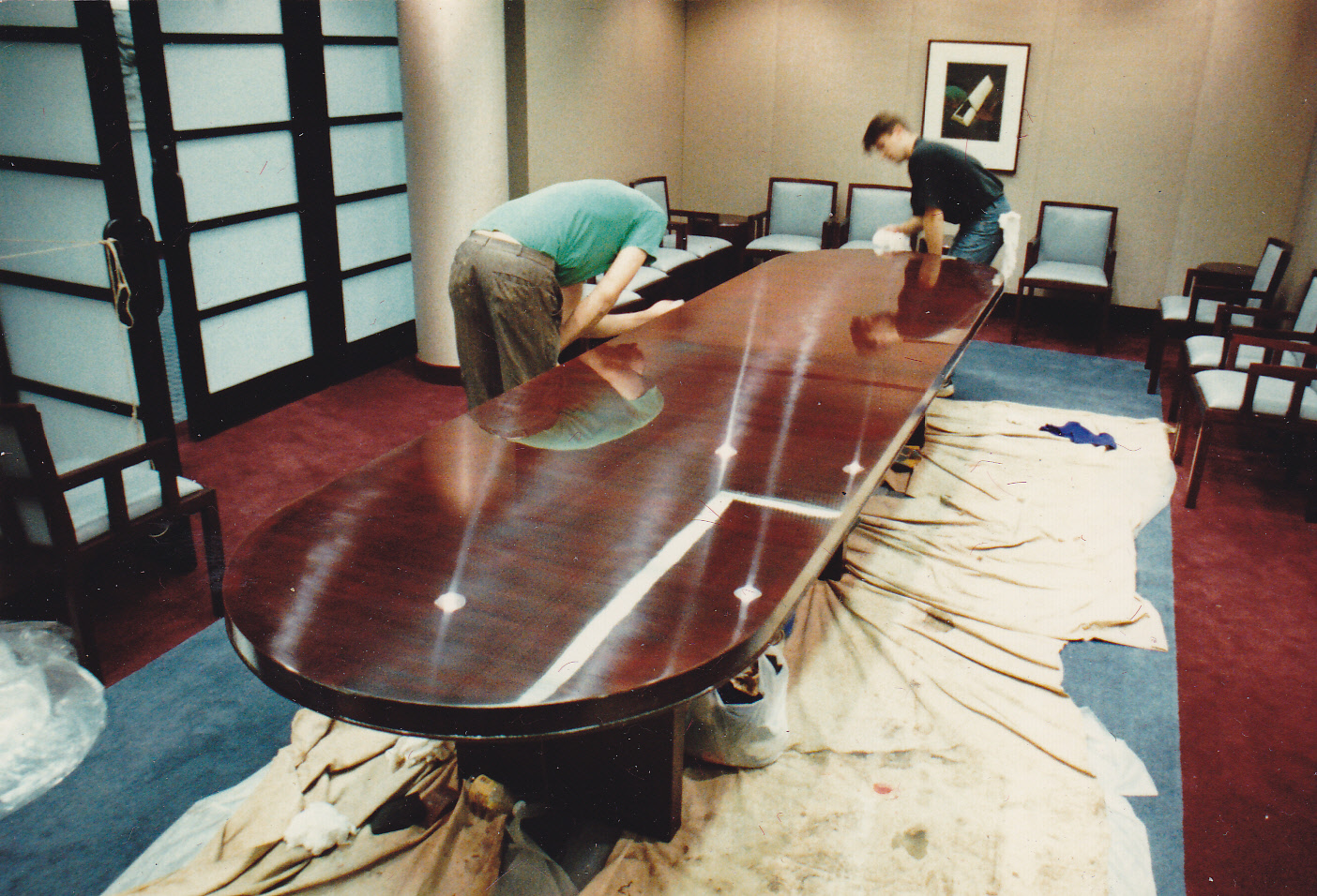 Sony Corporation Conference Table, NJ, DURING refinishing and restoration On Site