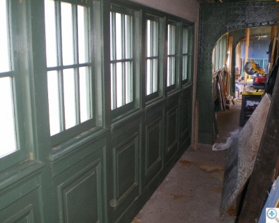 Installed windows, prior to cleaning and on-site painting of last coat