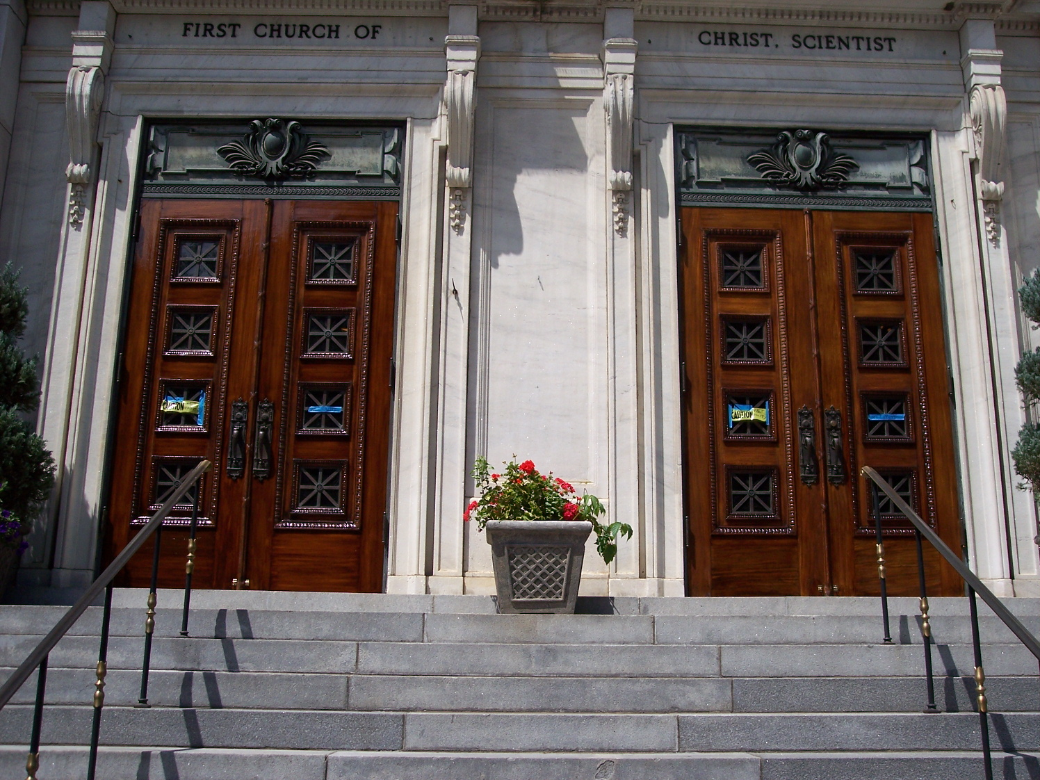 Front doors of First Church of Christ Scientist after restoration and refurbishing
