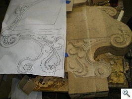 Sketch made prior to carving to layout work