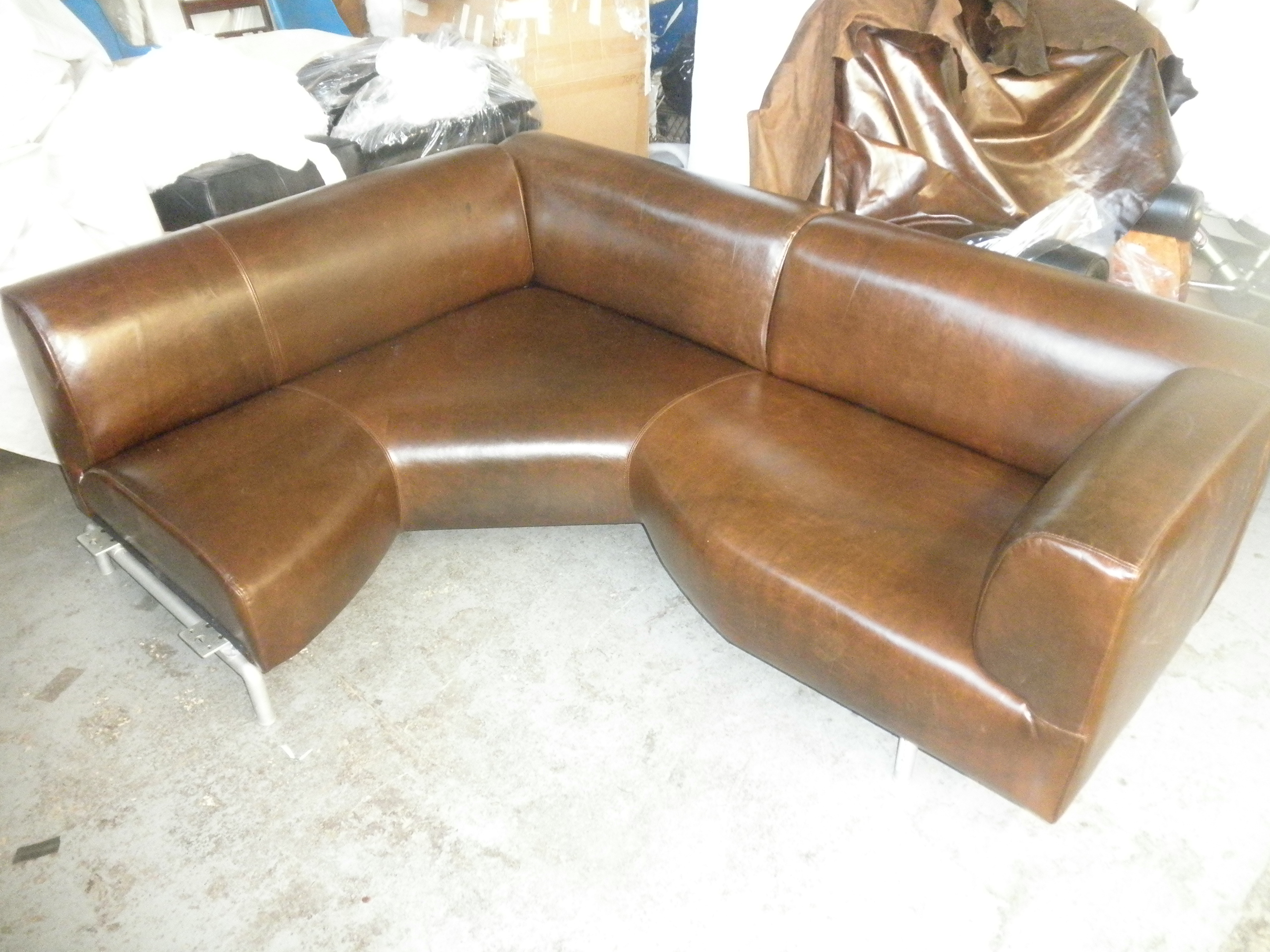 Cassina Corner Unit Reupholstered in Leather, with new Mahogany Back BEFORE