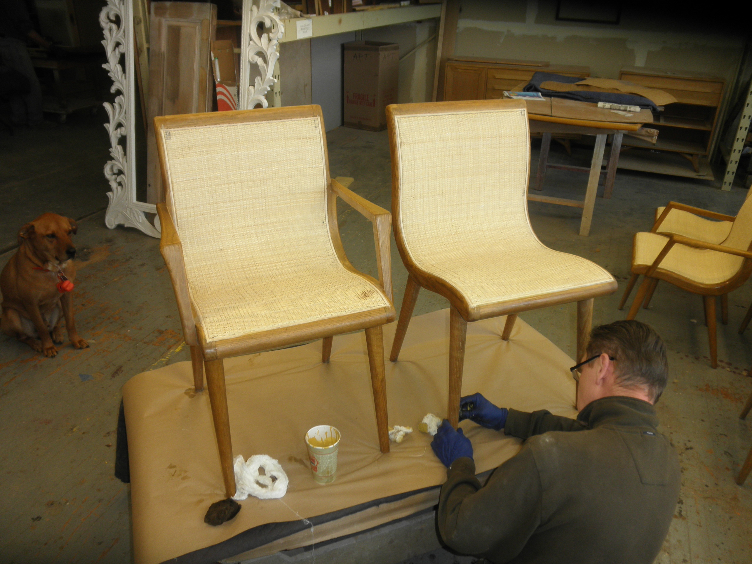 Chairs being restored