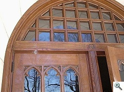 transom lites made from single piece notched muntins. Door jambs made from full-length laminated FAS white oak