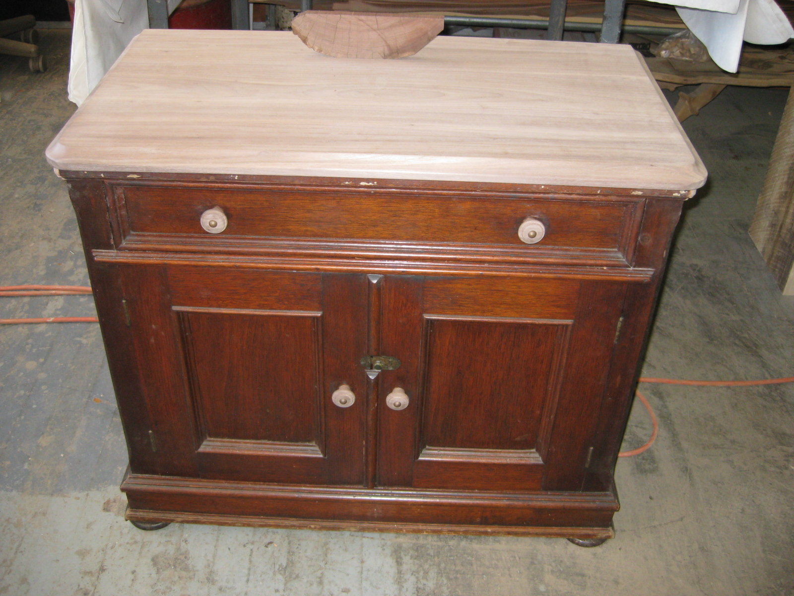 Victorian Cabinet repair and French polishing DURING