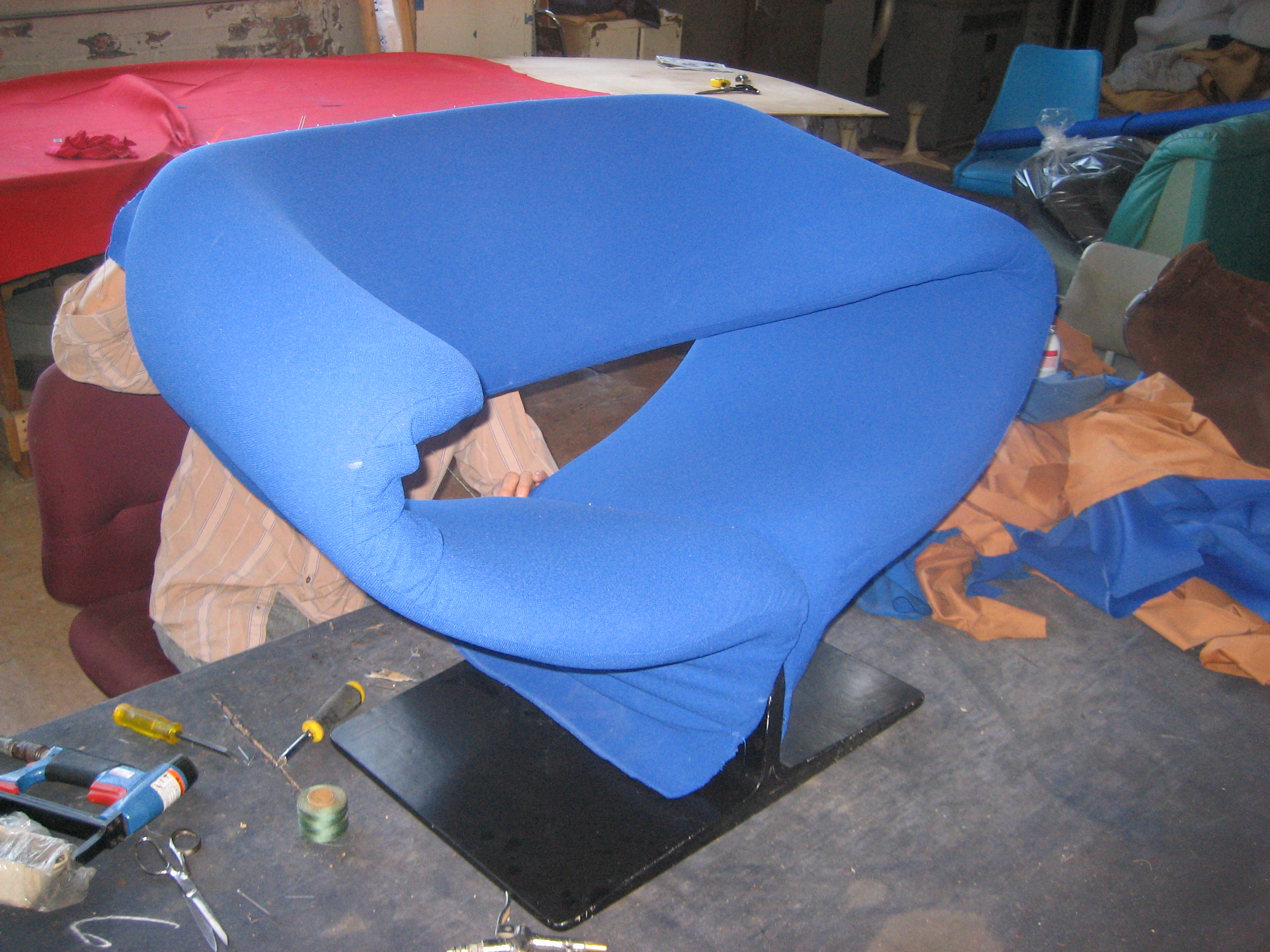 Pierre Paulin Ribbon Chair DURING reupholstery