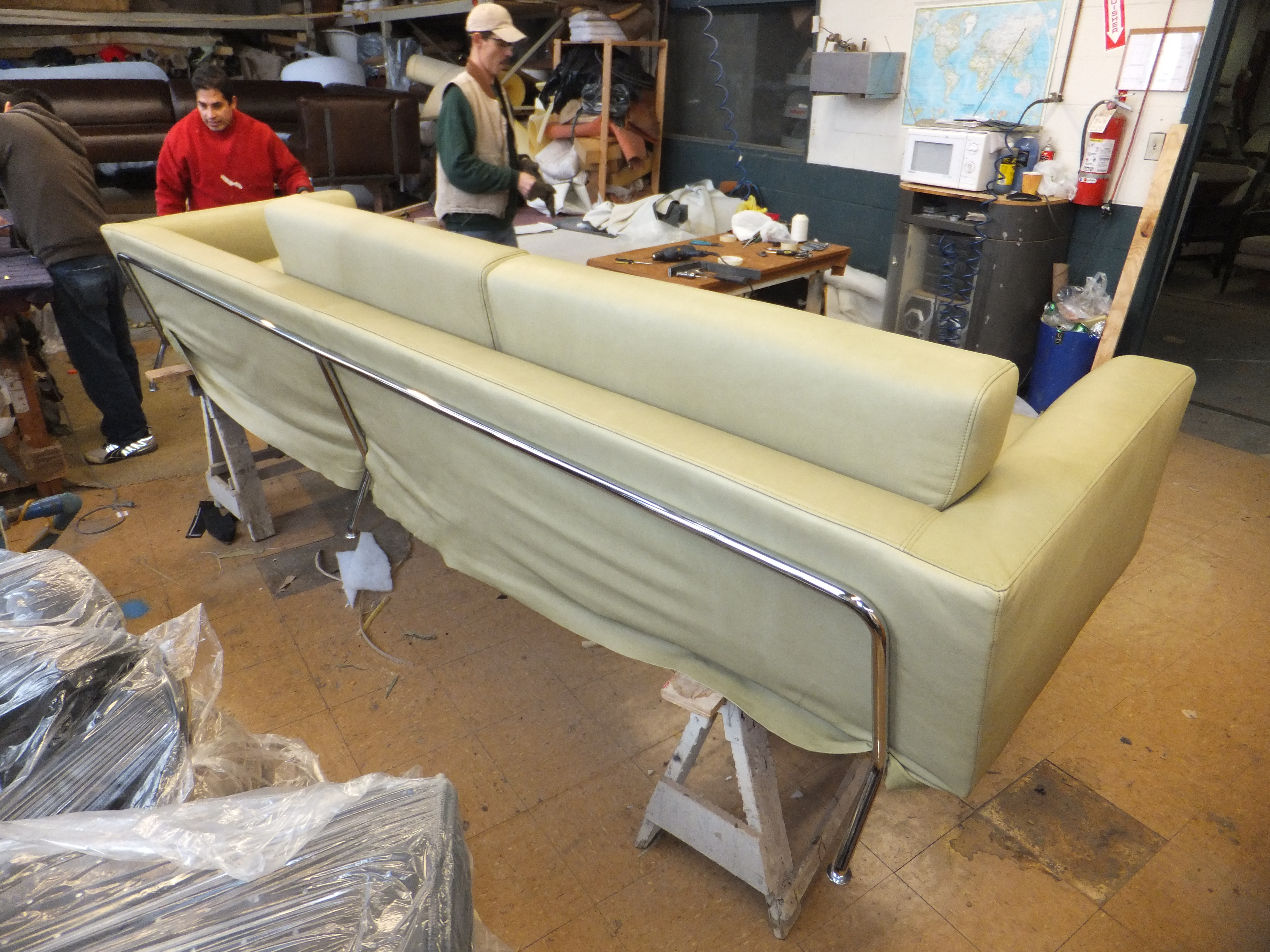 Long Sofa Reupholster DURING