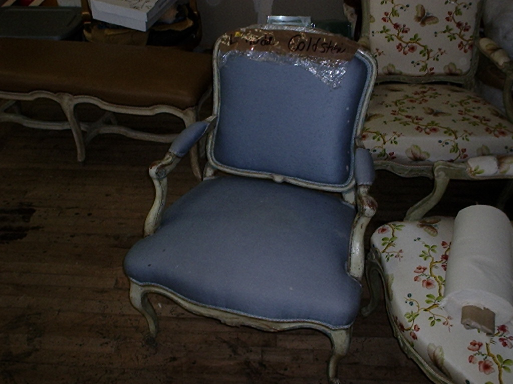 Louis XV period Fauteuil a la Reine with broken framing-before