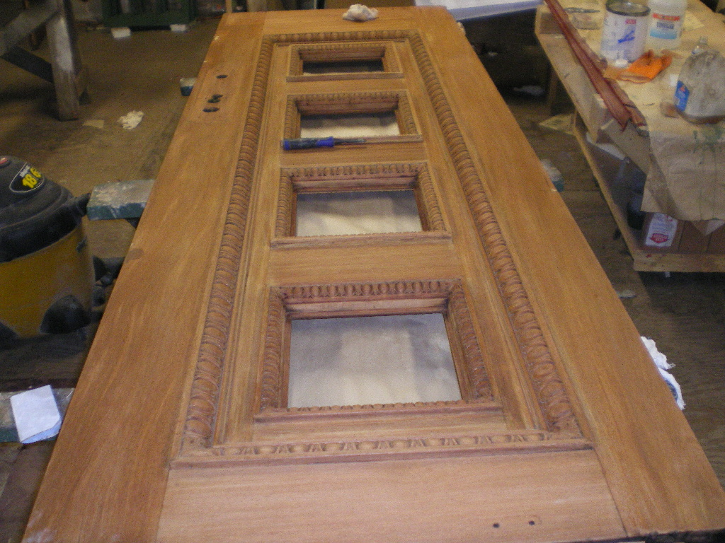 Mahogany Door during restoration process