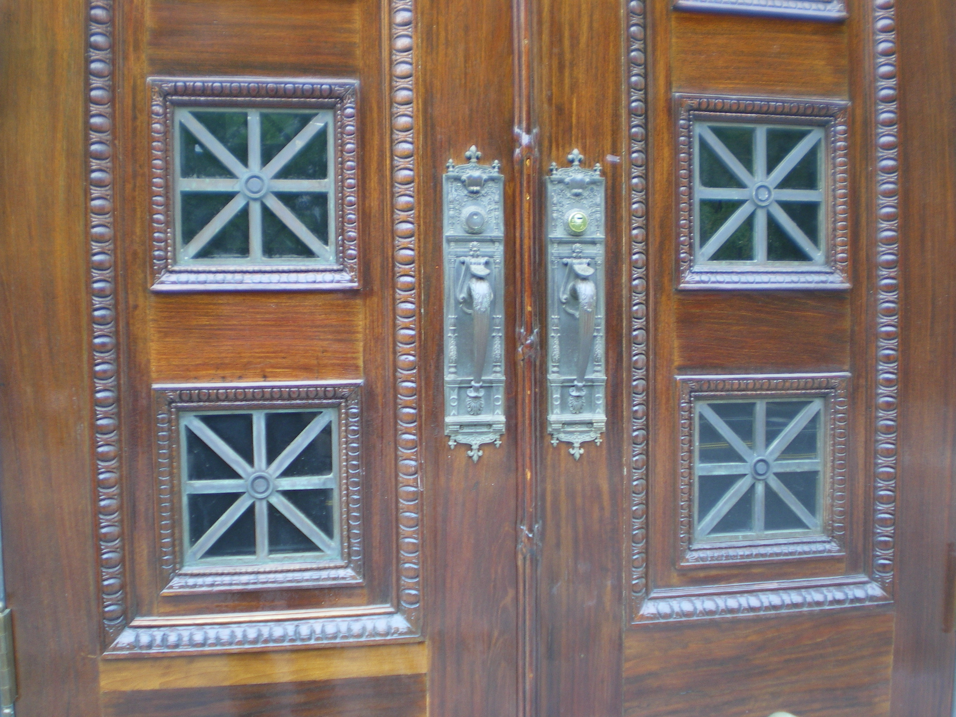 Mahogany Double Door Preservation- Repair & Refinishing-after, NYC
