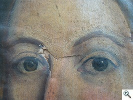 Before condition poor, canvas weak, paint extensively crazed, overvarnish oxidized, ripped
