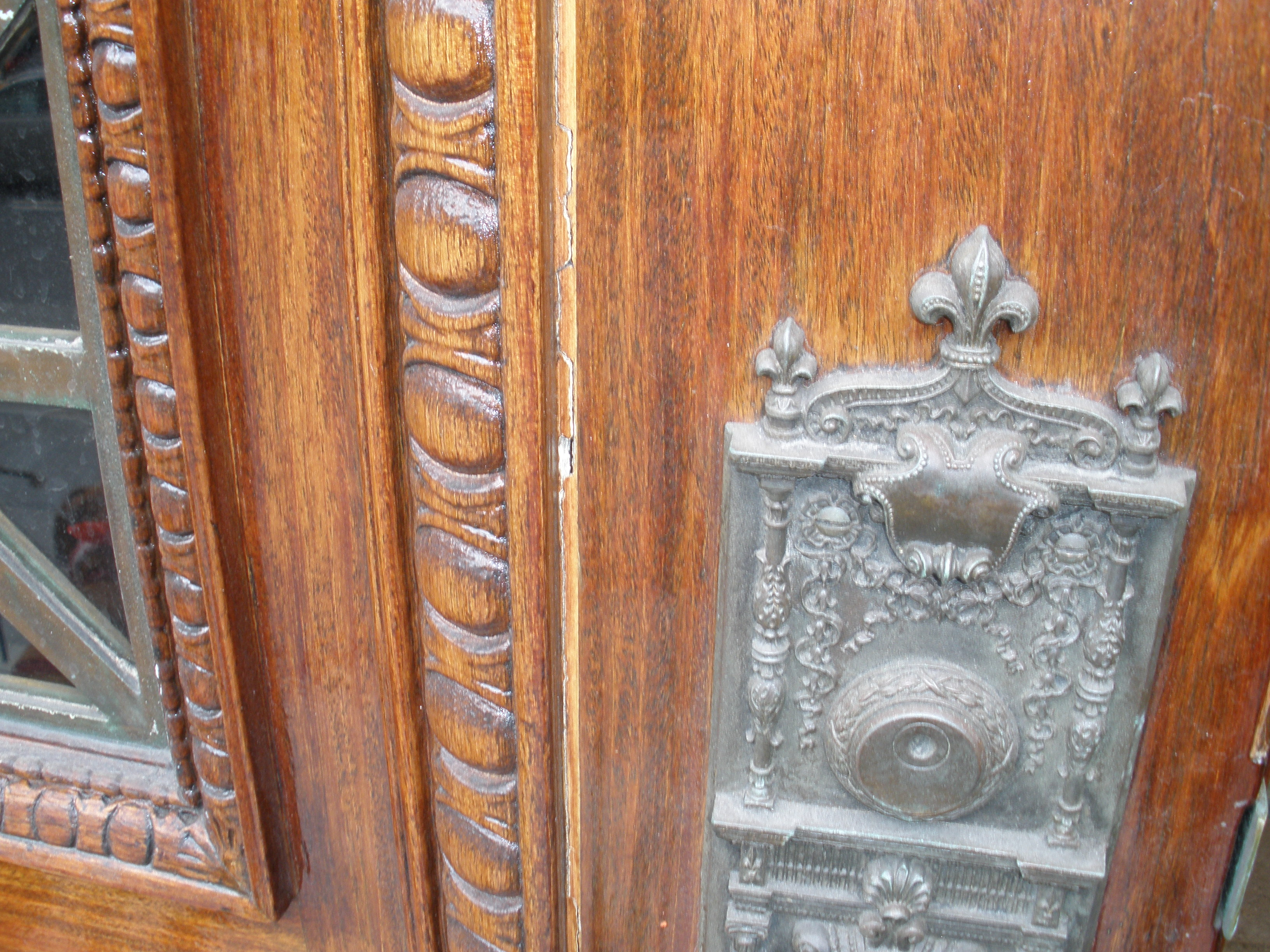 Detail of Mahony Door post refurbish and restoration