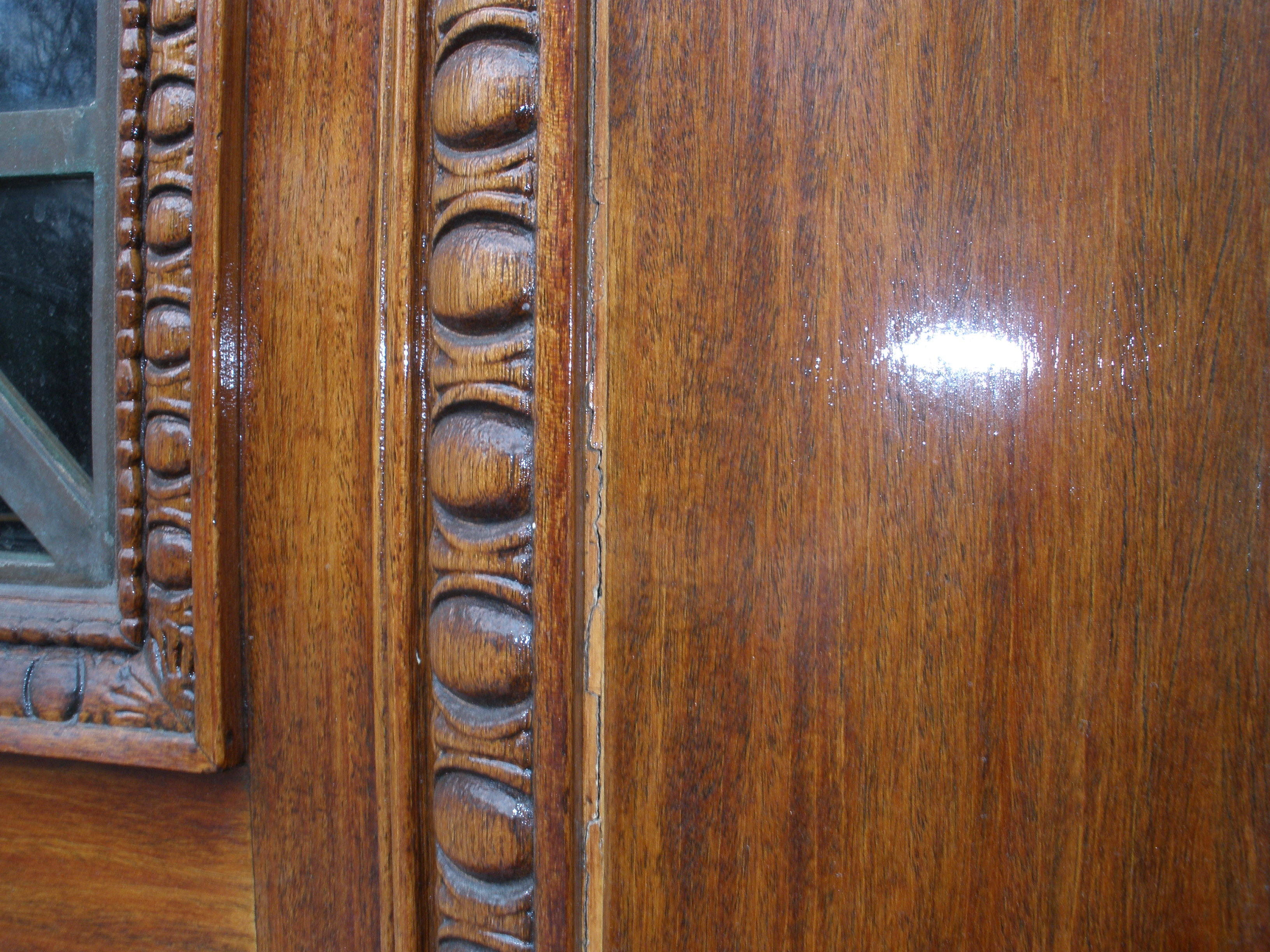 Detail of double Mahony door after restoration, NYC