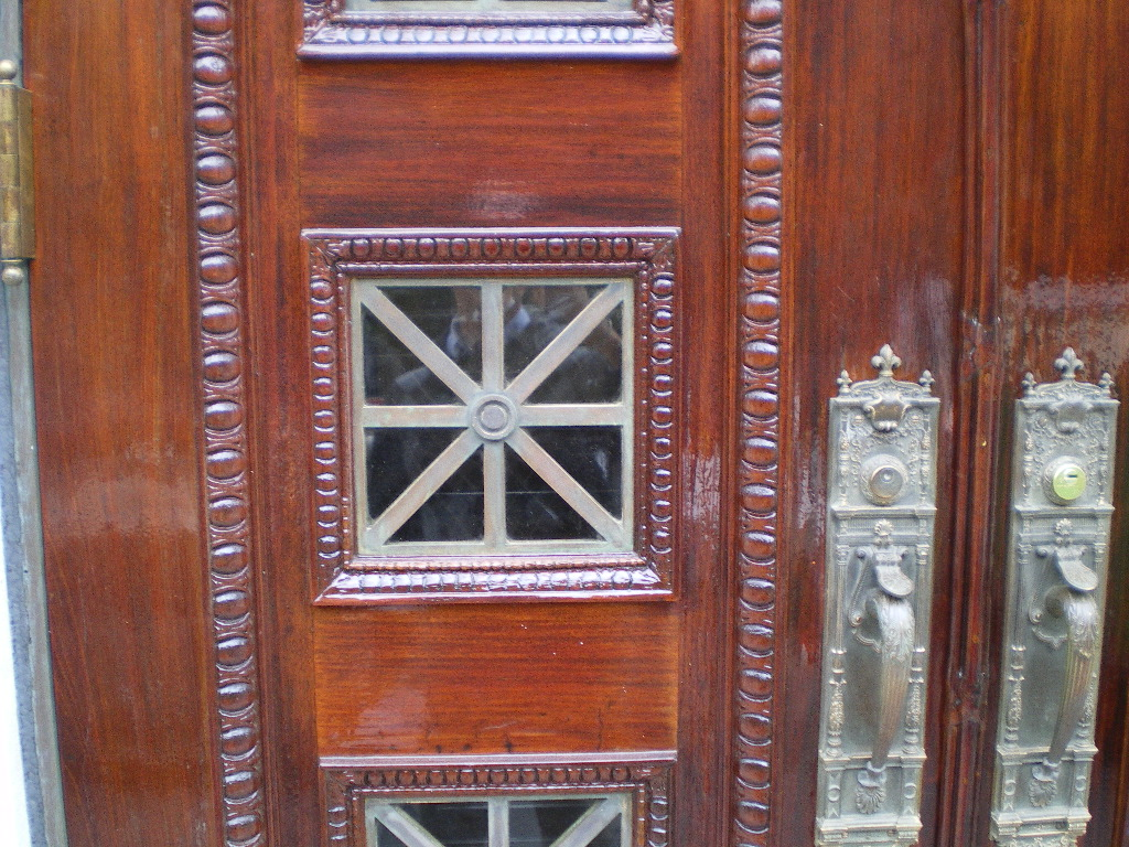 Detail of Mahony door after restoration on 10W 68th St, NYC
