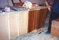 Interior zebrawood veneered panels during installation