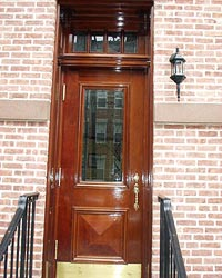 Custom Mahogany Door and Transom Landmark