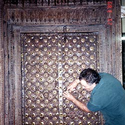 These fabulous temple doors were shipped from Australia without being crated