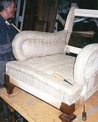 Replication of Turkish tufted club chairs with spring edge at front of seat, horsehair and cotton construction.