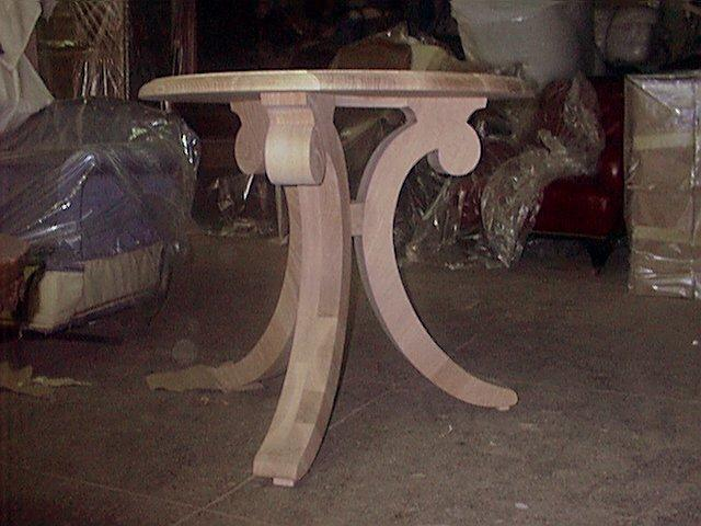 Dining table during restoration phase.